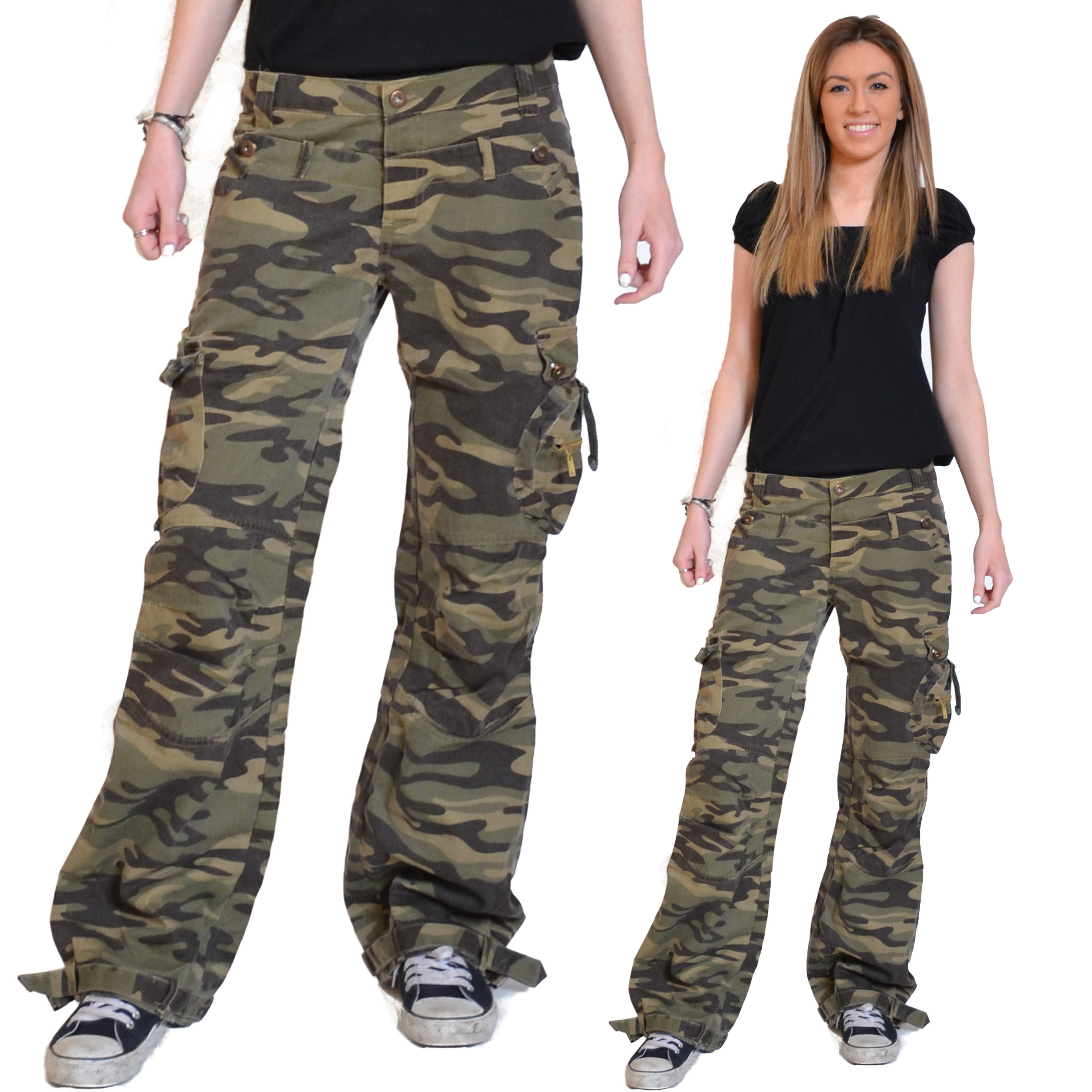 army green cargo pants womens photo - 2