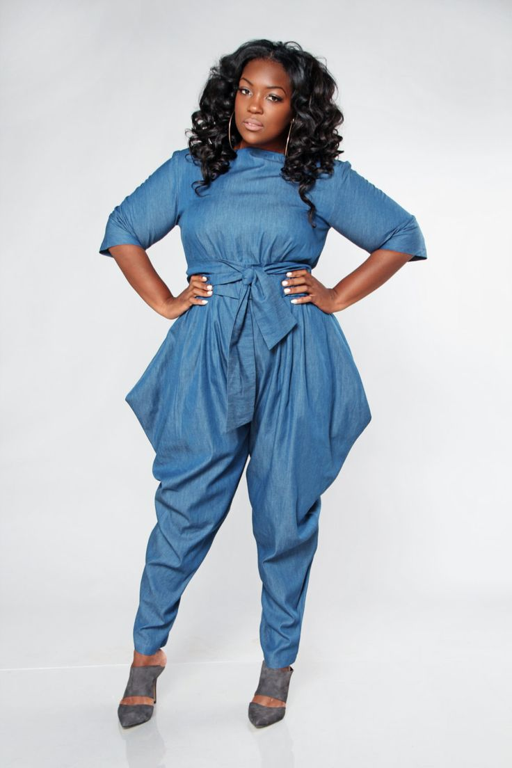 plus size denim pants photo - 1