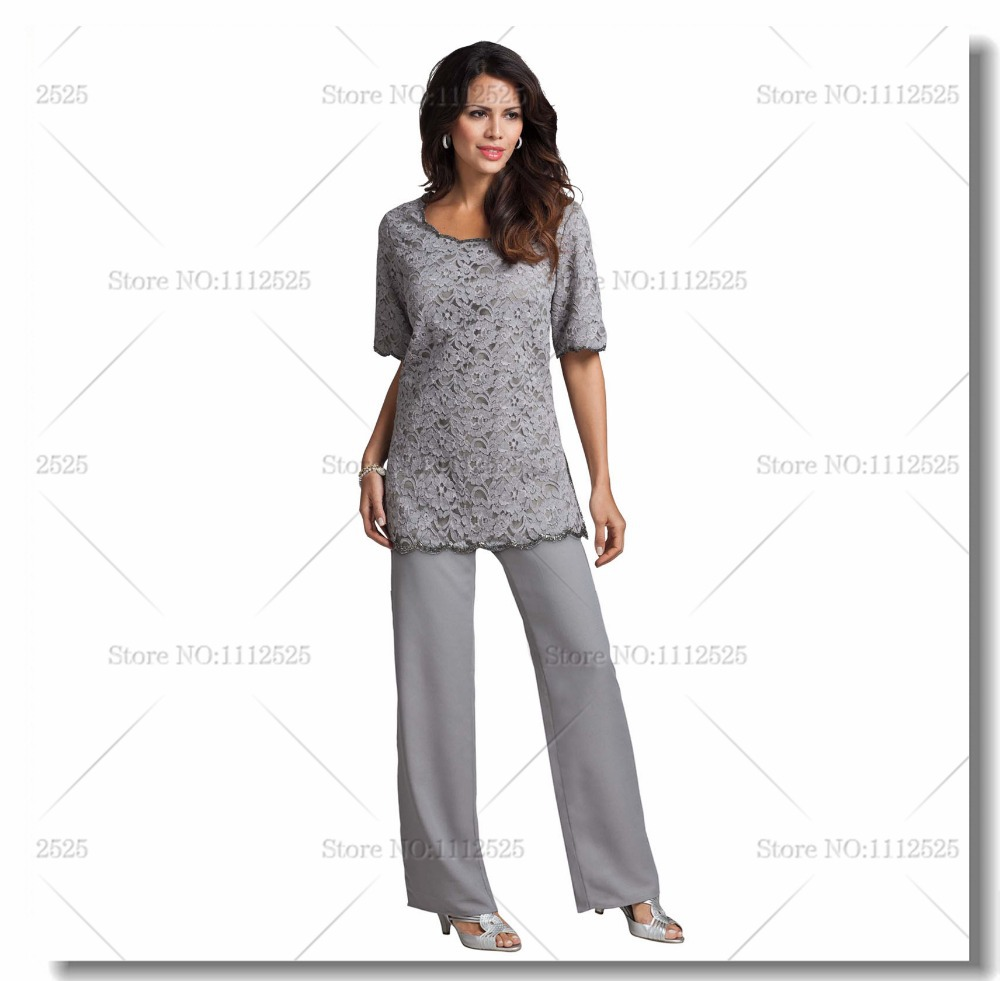 plus size gray pant suit photo - 1
