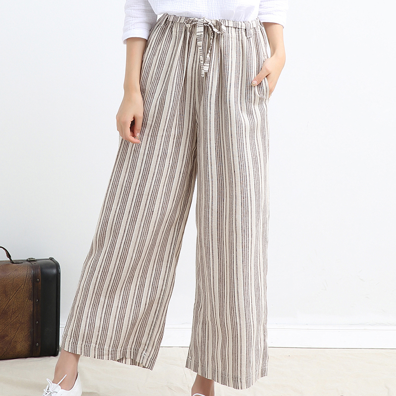 plus size linen pants wide leg photo - 2