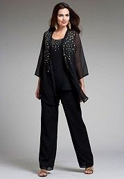 plus size pant suit evening wear photo - 2