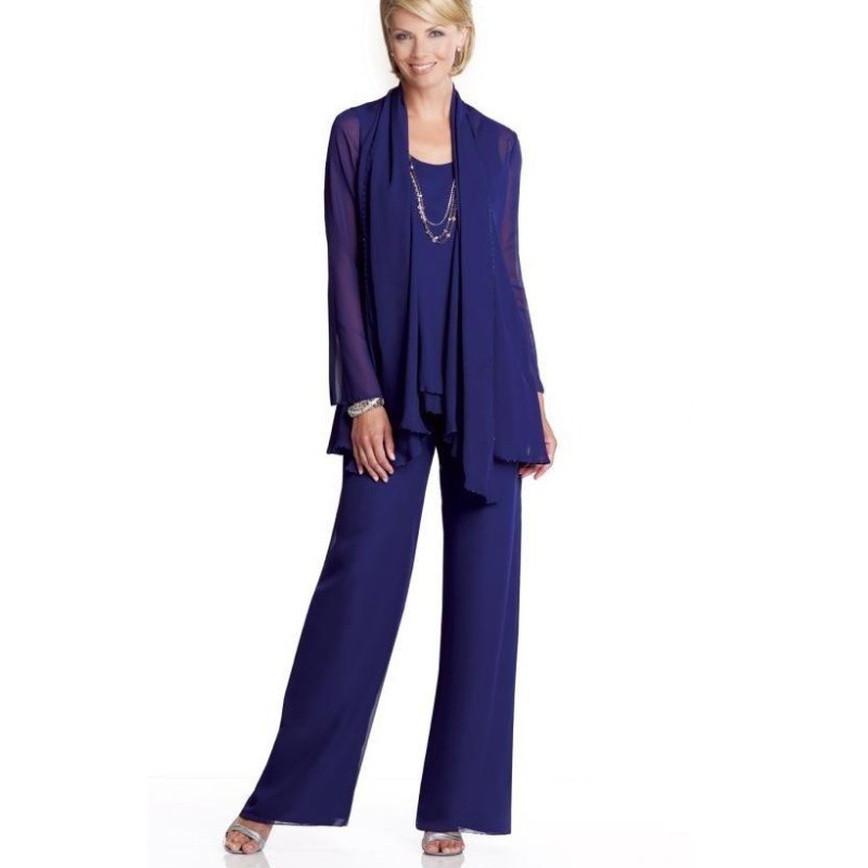 plus size pant suit for wedding photo - 1