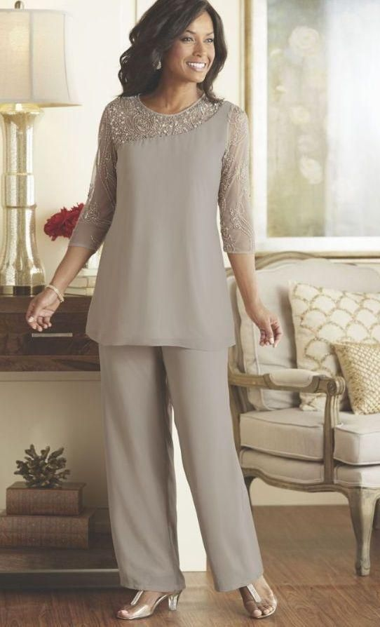 plus size pant suit for wedding photo - 2