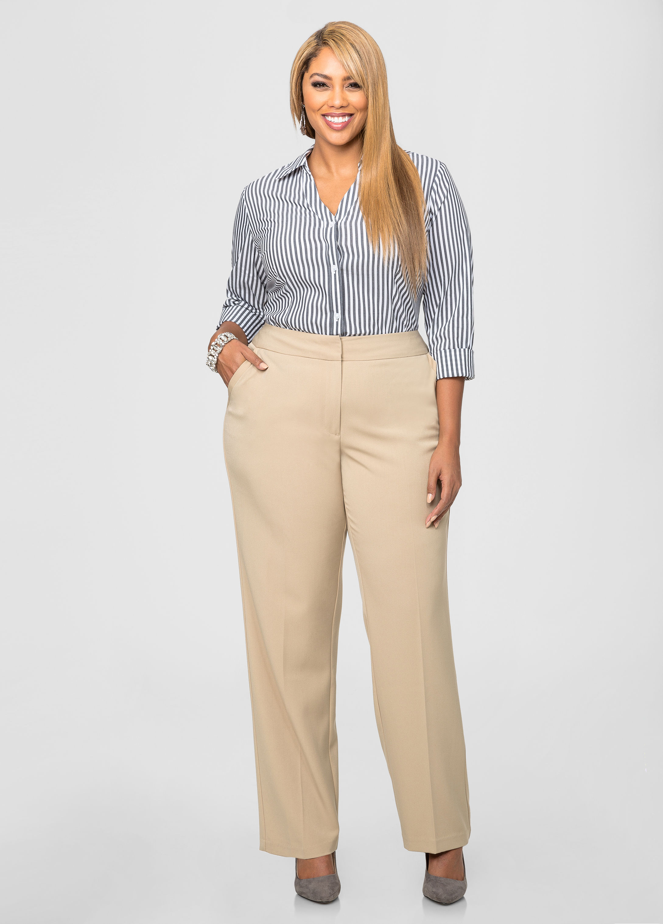 plus size pants brown photo - 1