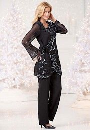 plus size pants suits special occasion photo - 1