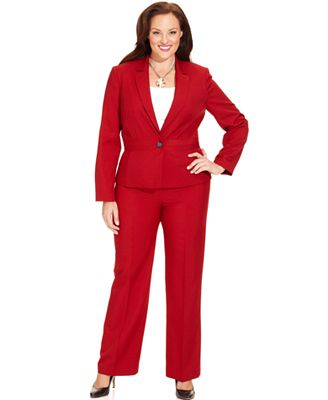 plus size red pant suit photo - 1