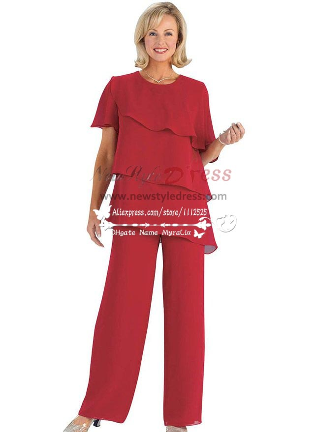plus size red pant suit photo - 2