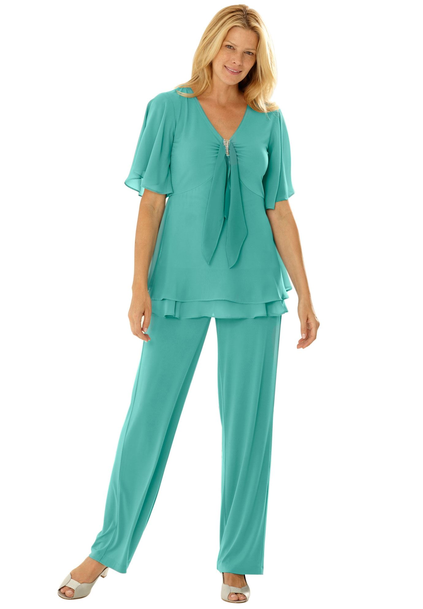 plus size special occasion pants suits photo - 1