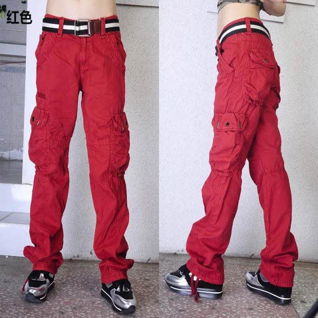 red cargo pants womens photo - 1