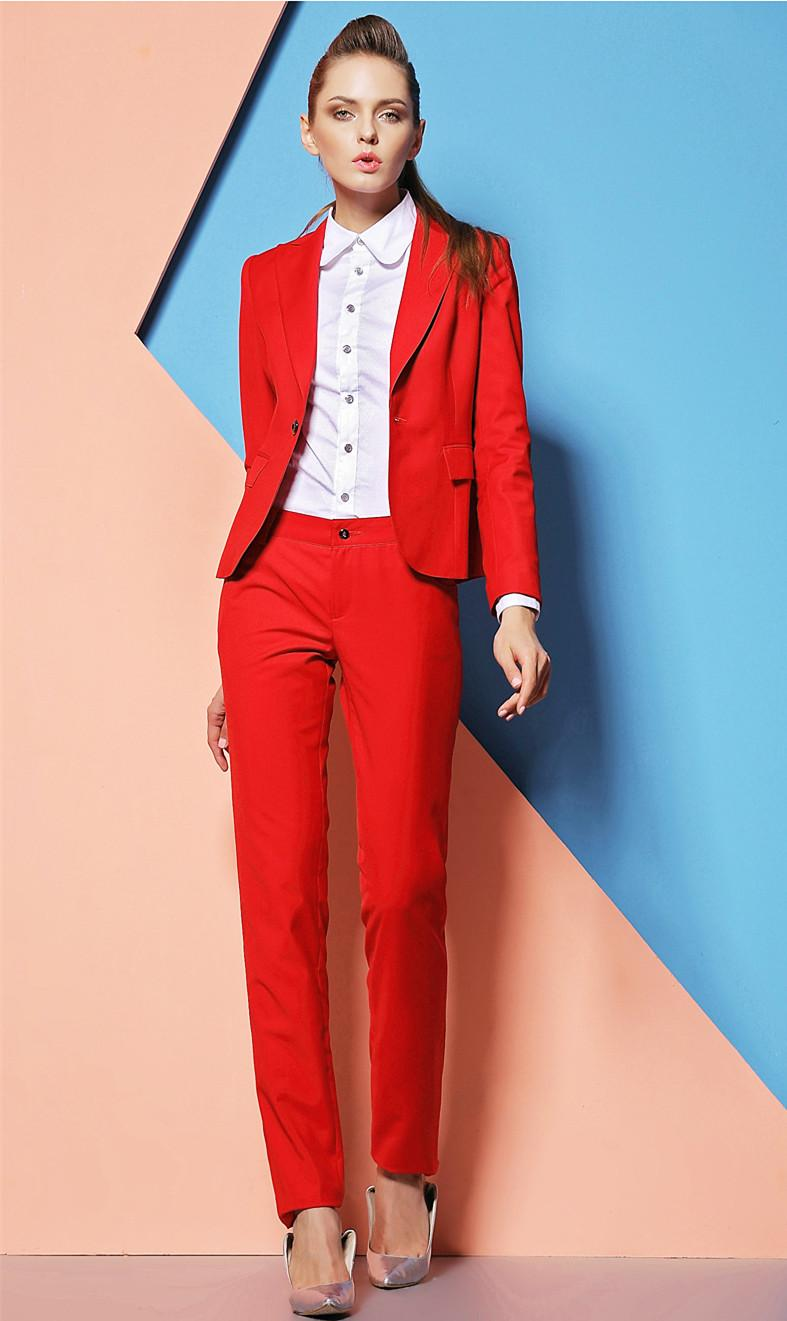 red pants suit for women photo - 1