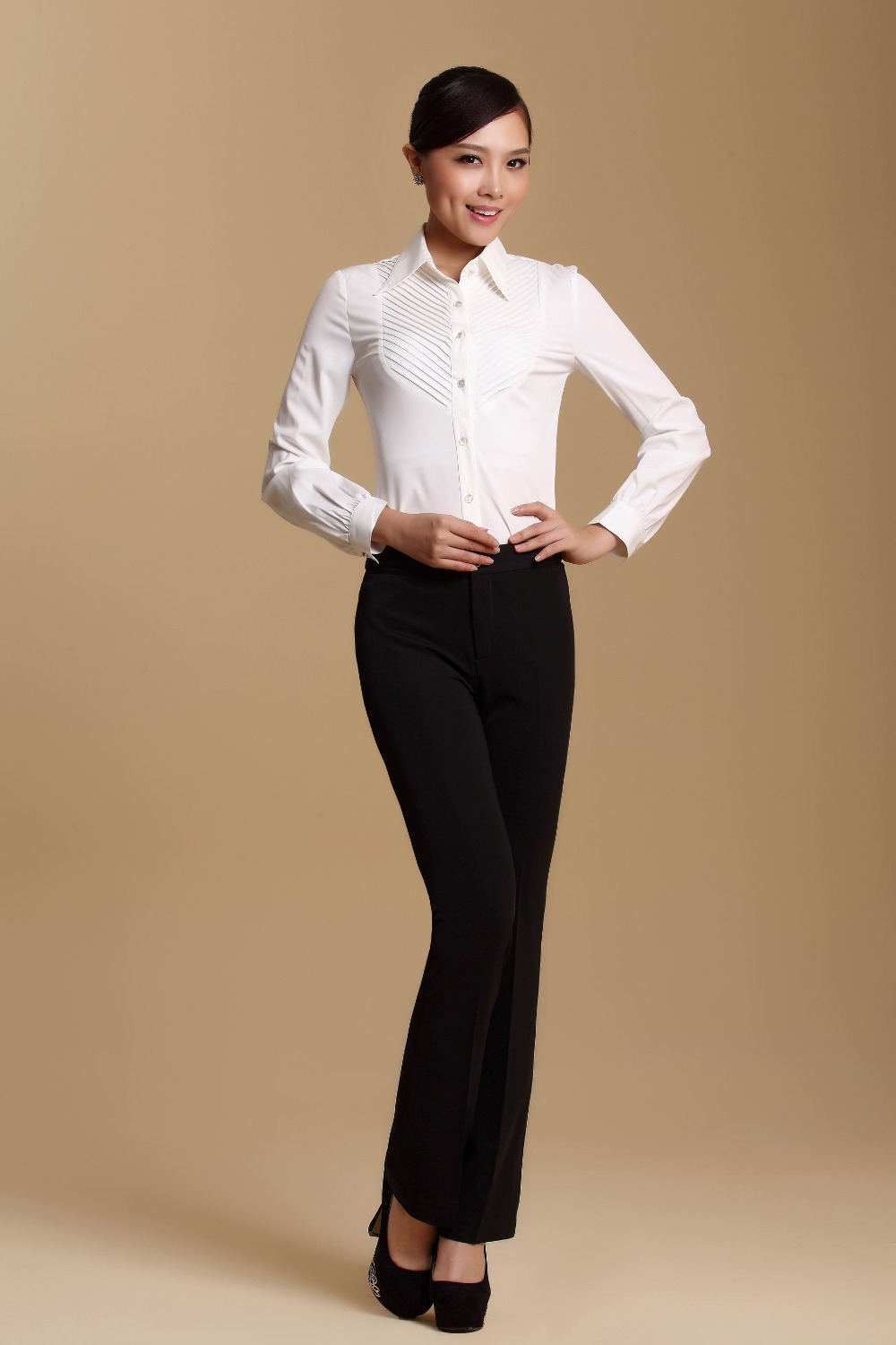 white shirt black pants women photo - 1