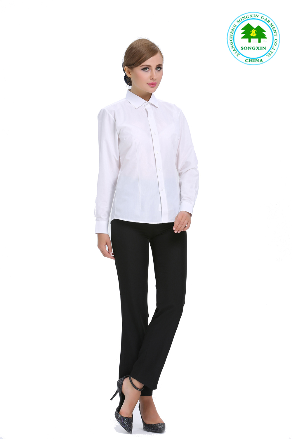 white shirt black pants women photo - 2