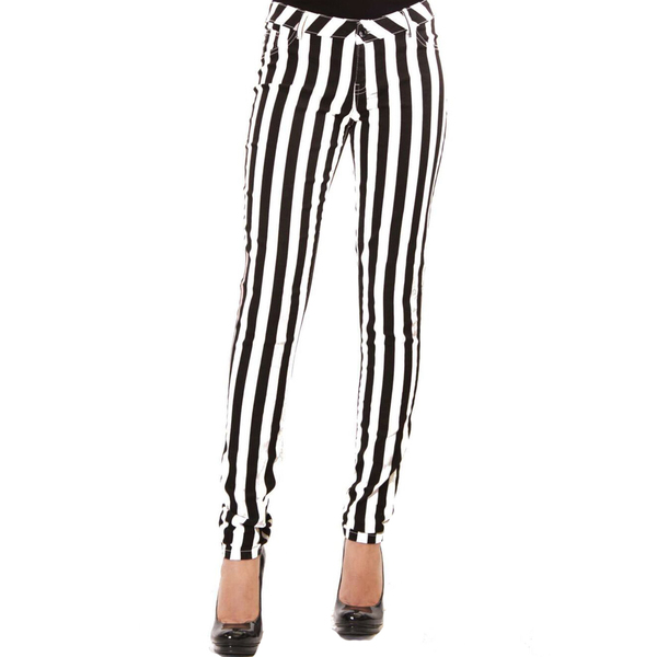 women s black and white pants photo - 2