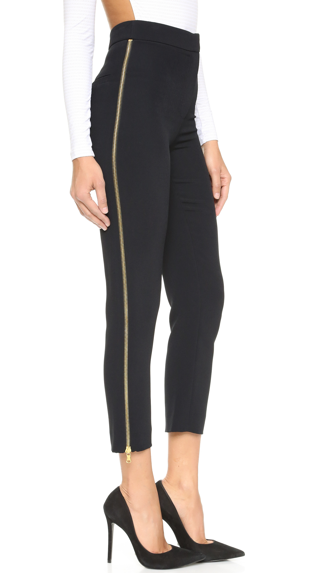 women s black pants side zipper photo - 1