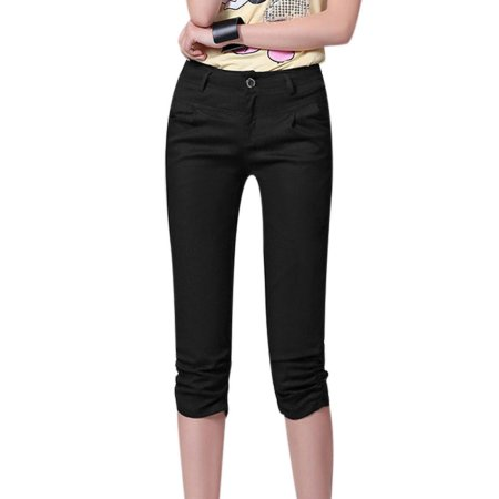 women s black pants with side closure photo - 1