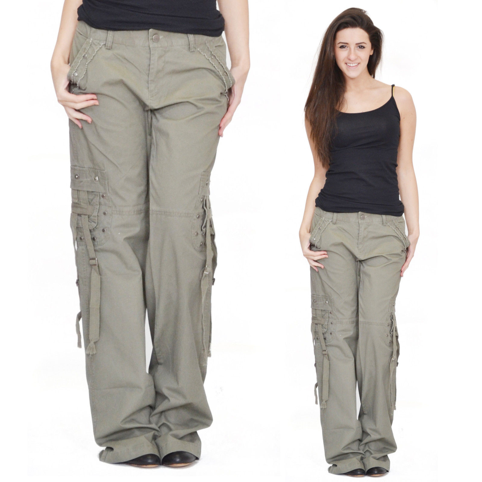 women s cropped cargo pants photo - 2