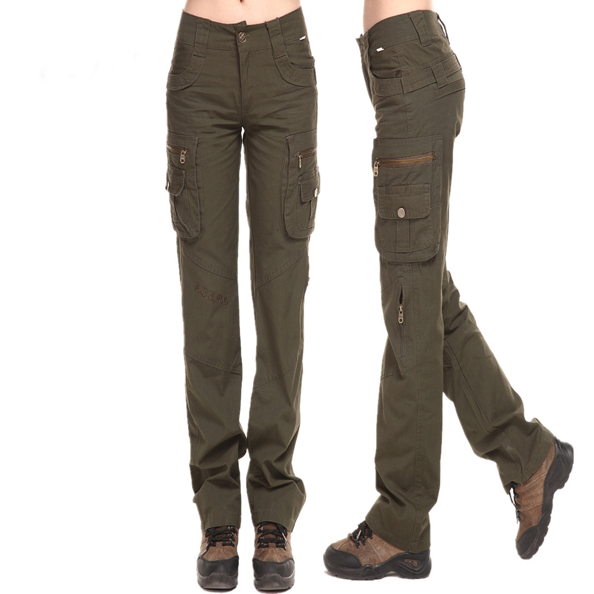 women s fitted cargo pants photo - 2