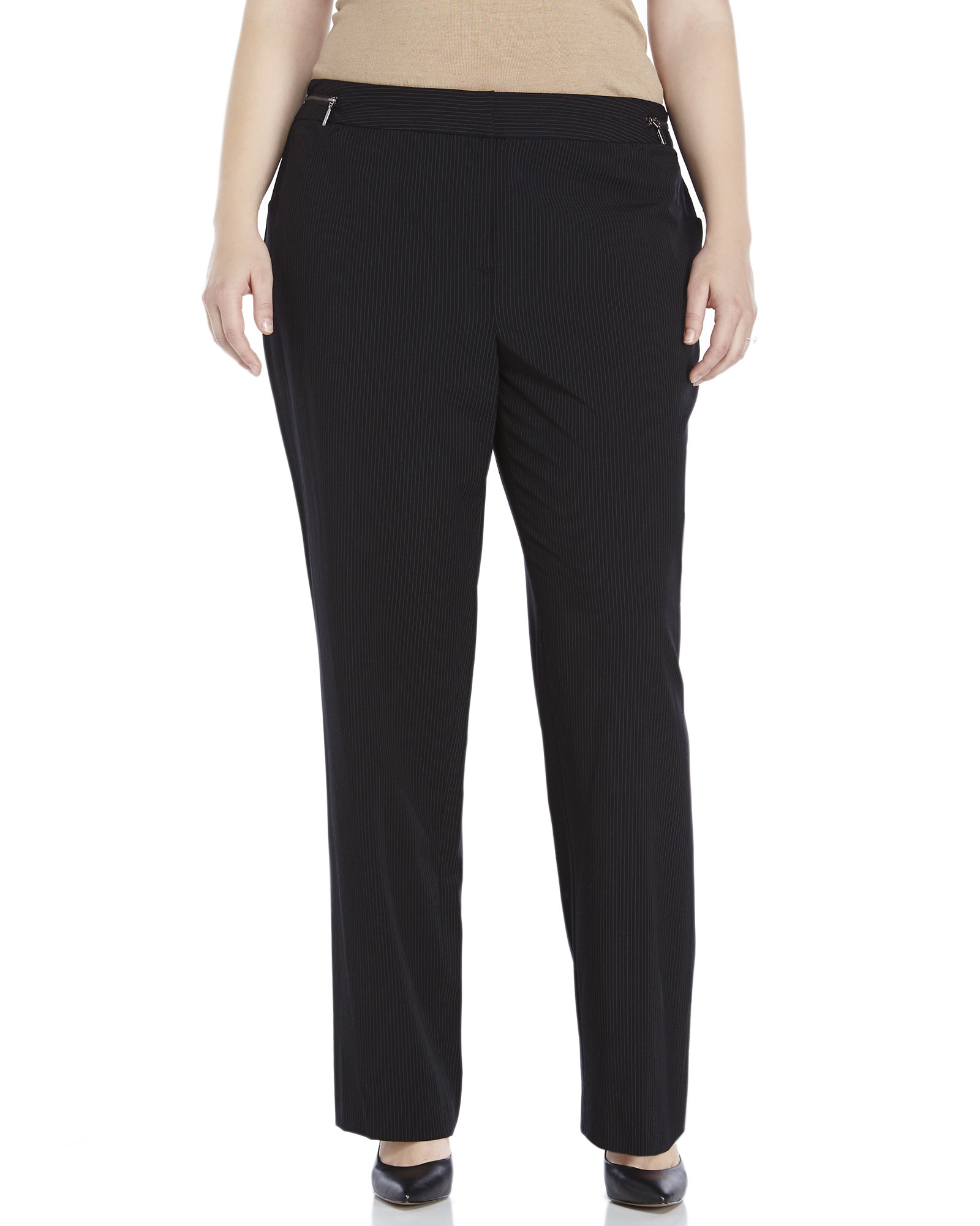 women s petite black linen pants photo - 2