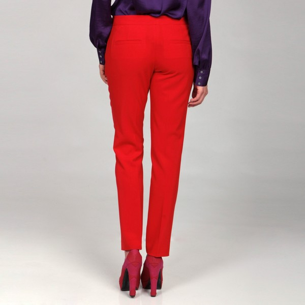 women s red ankle pants photo - 1