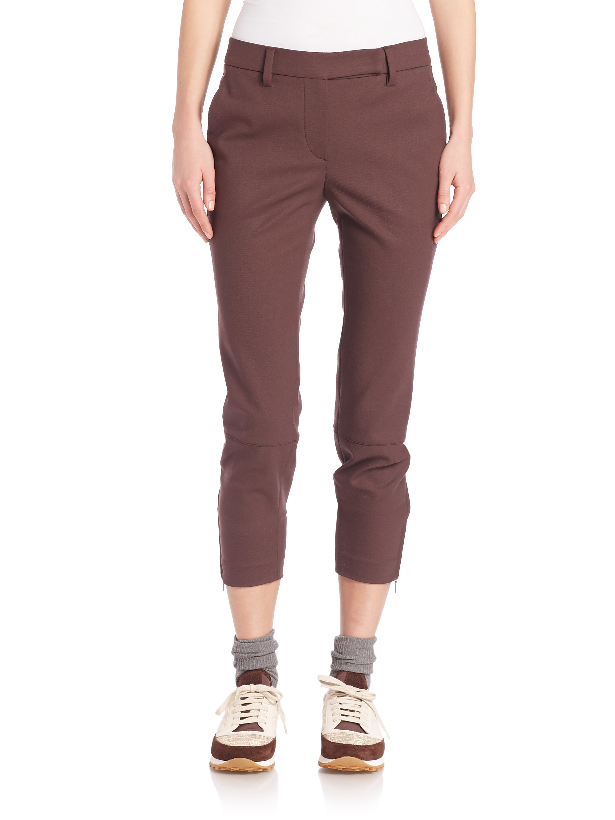 women s red ankle pants photo - 2
