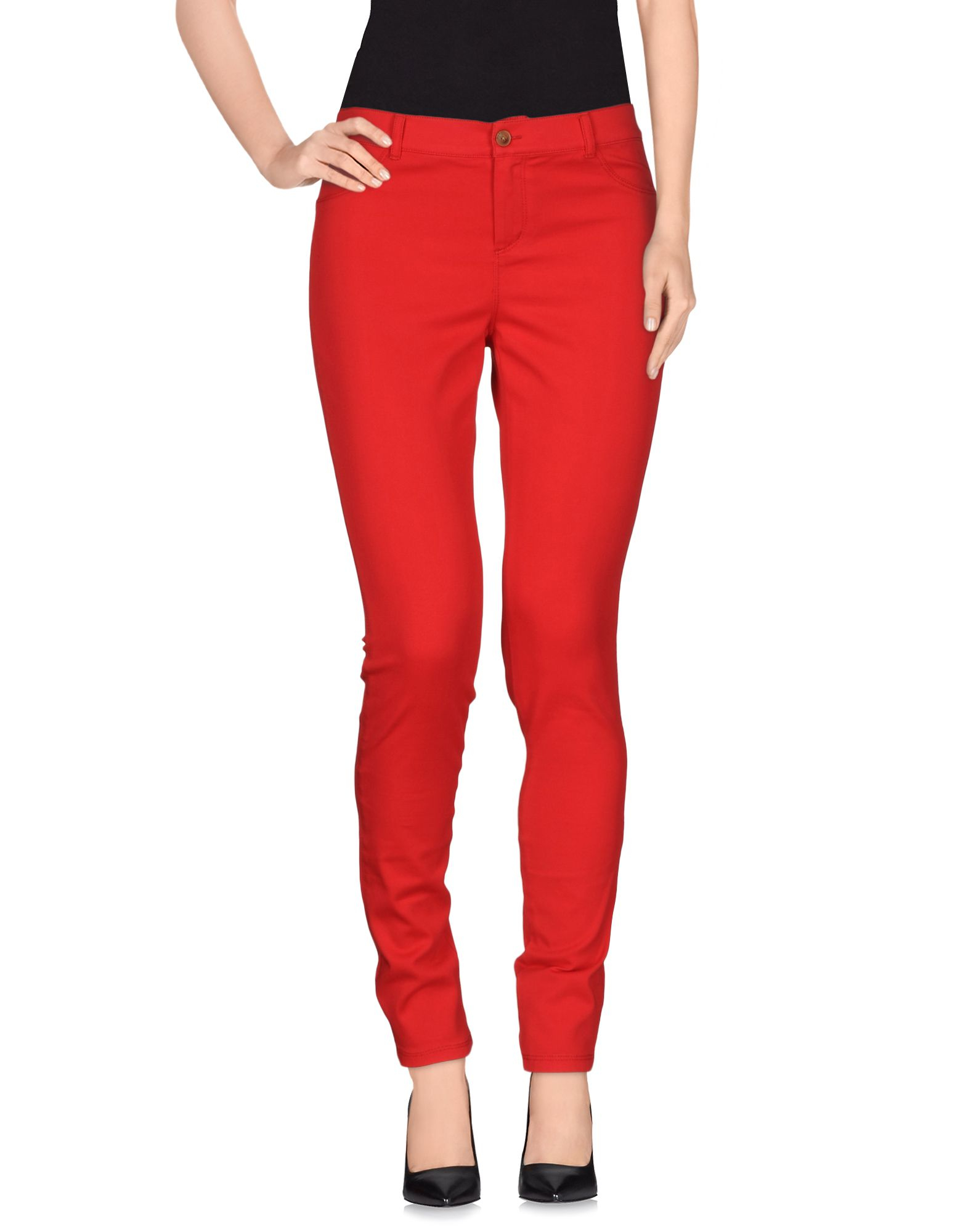 women s red casual pants photo - 1
