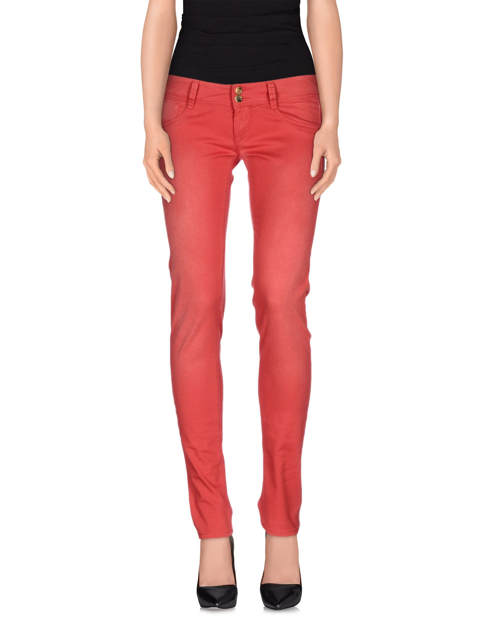 women s red casual pants photo - 2