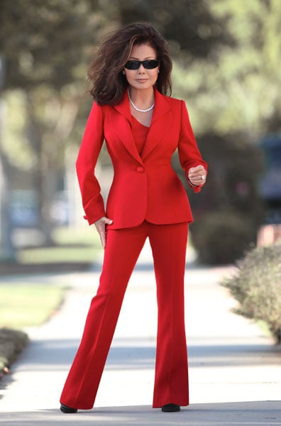 women s red pant suits photo - 1