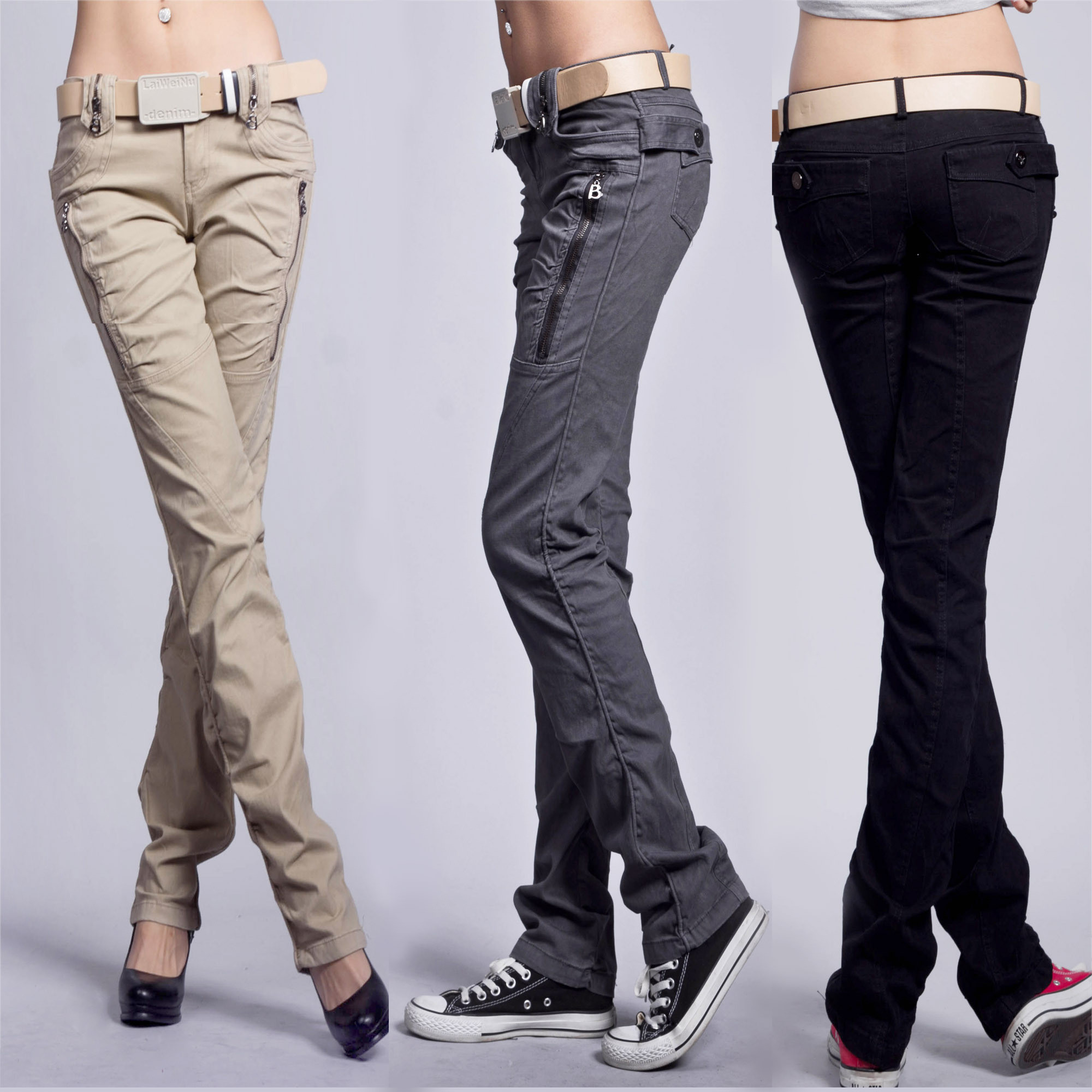 women s straight cargo pants photo - 2