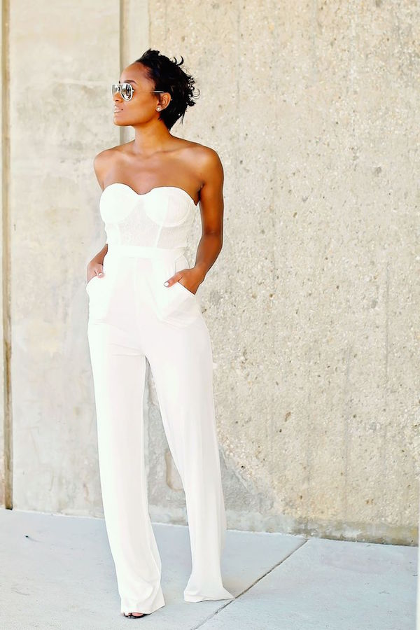 womens all white pants suit photo - 1