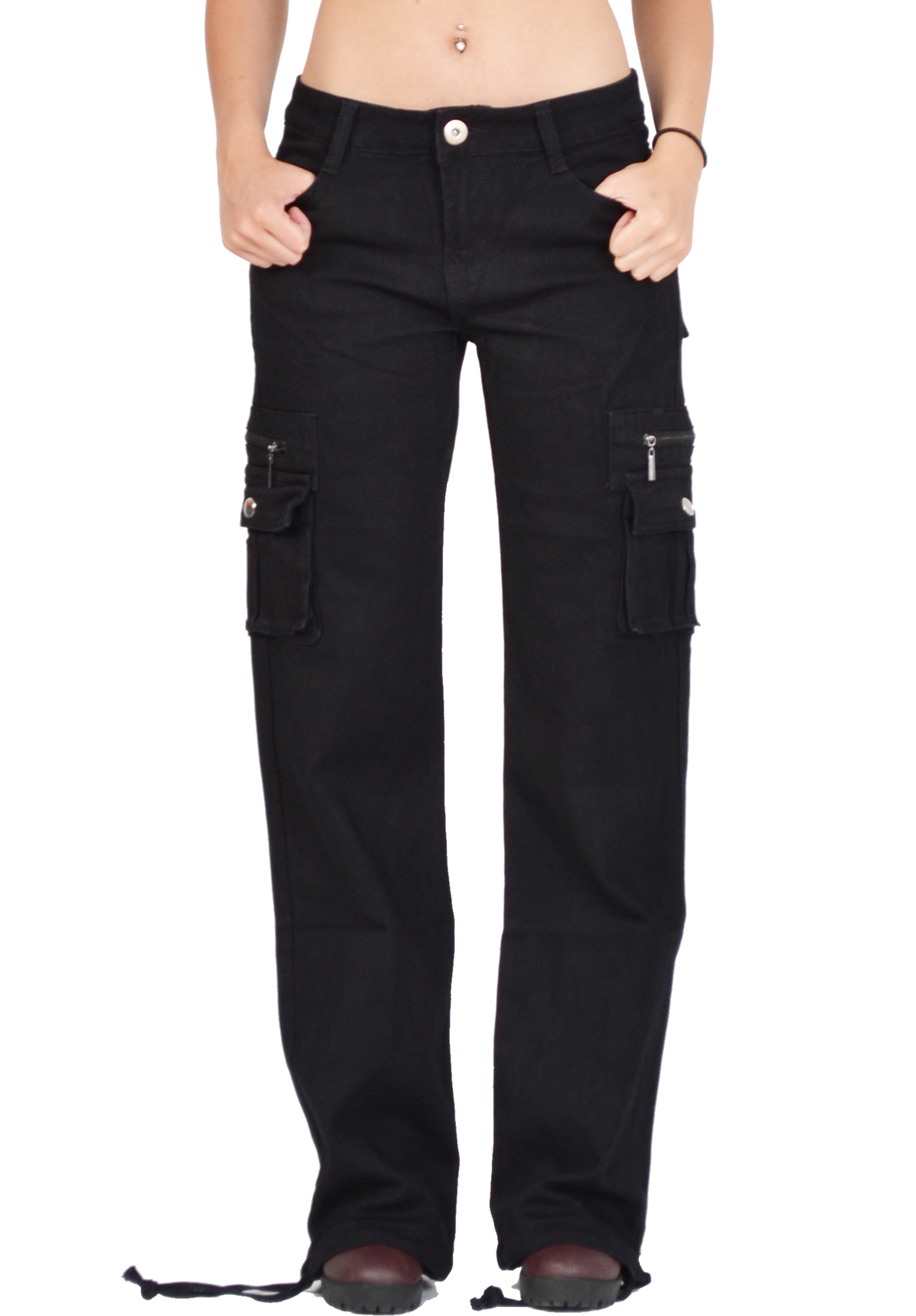 womens black cargo pants photo - 1