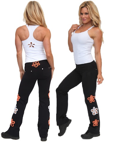 womens black exercise pants photo - 2