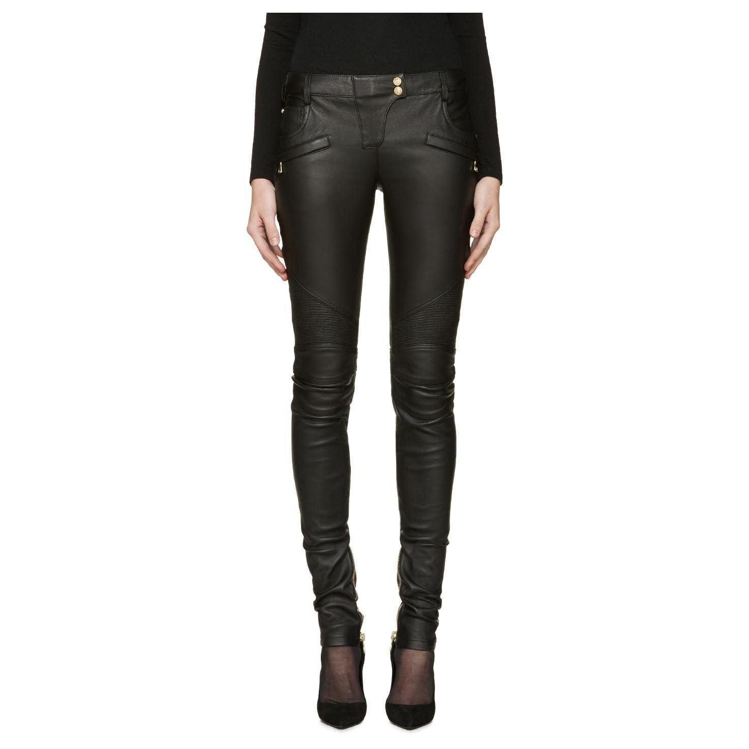 womens black leather biker pants photo - 1