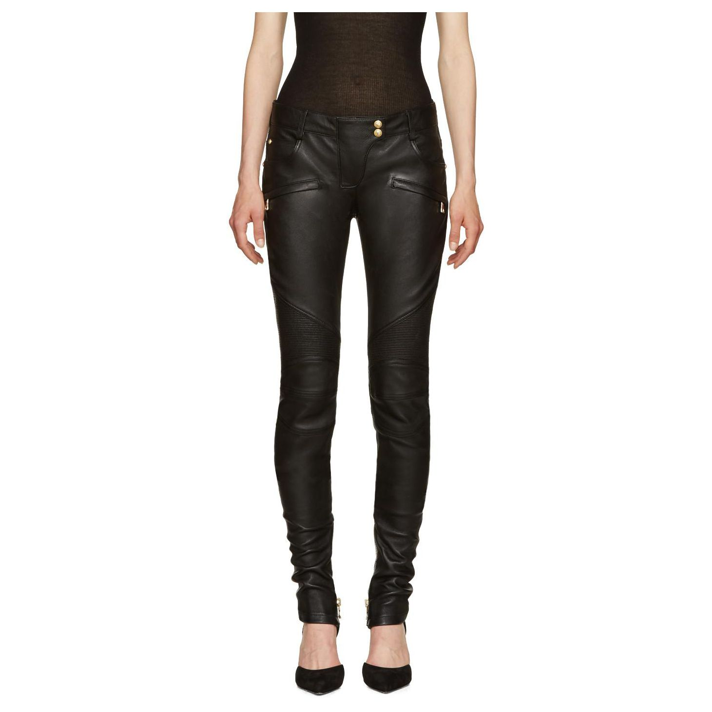 womens black leather biker pants photo - 2