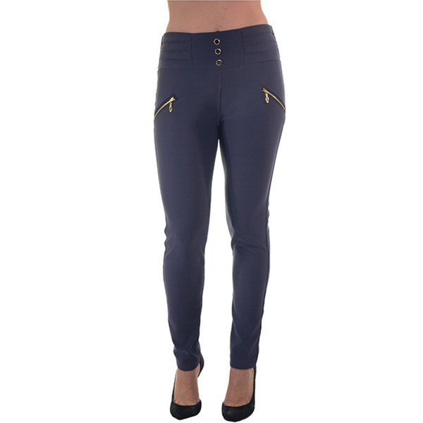 womens black pants that zip up the back photo - 2