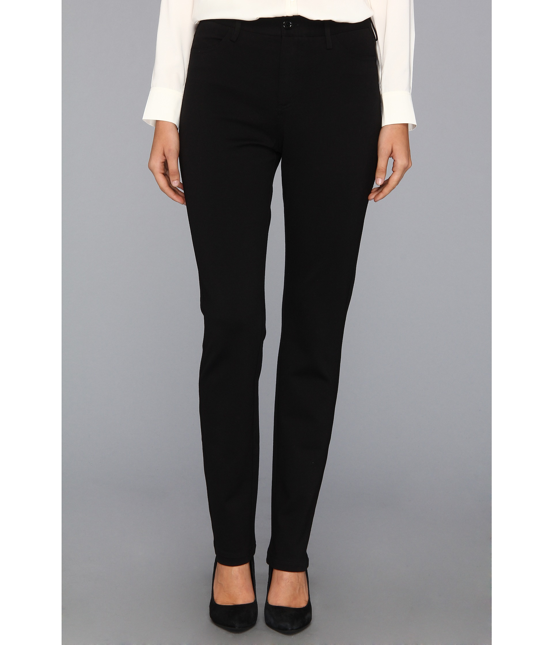 womens black ponte knit pants photo - 1