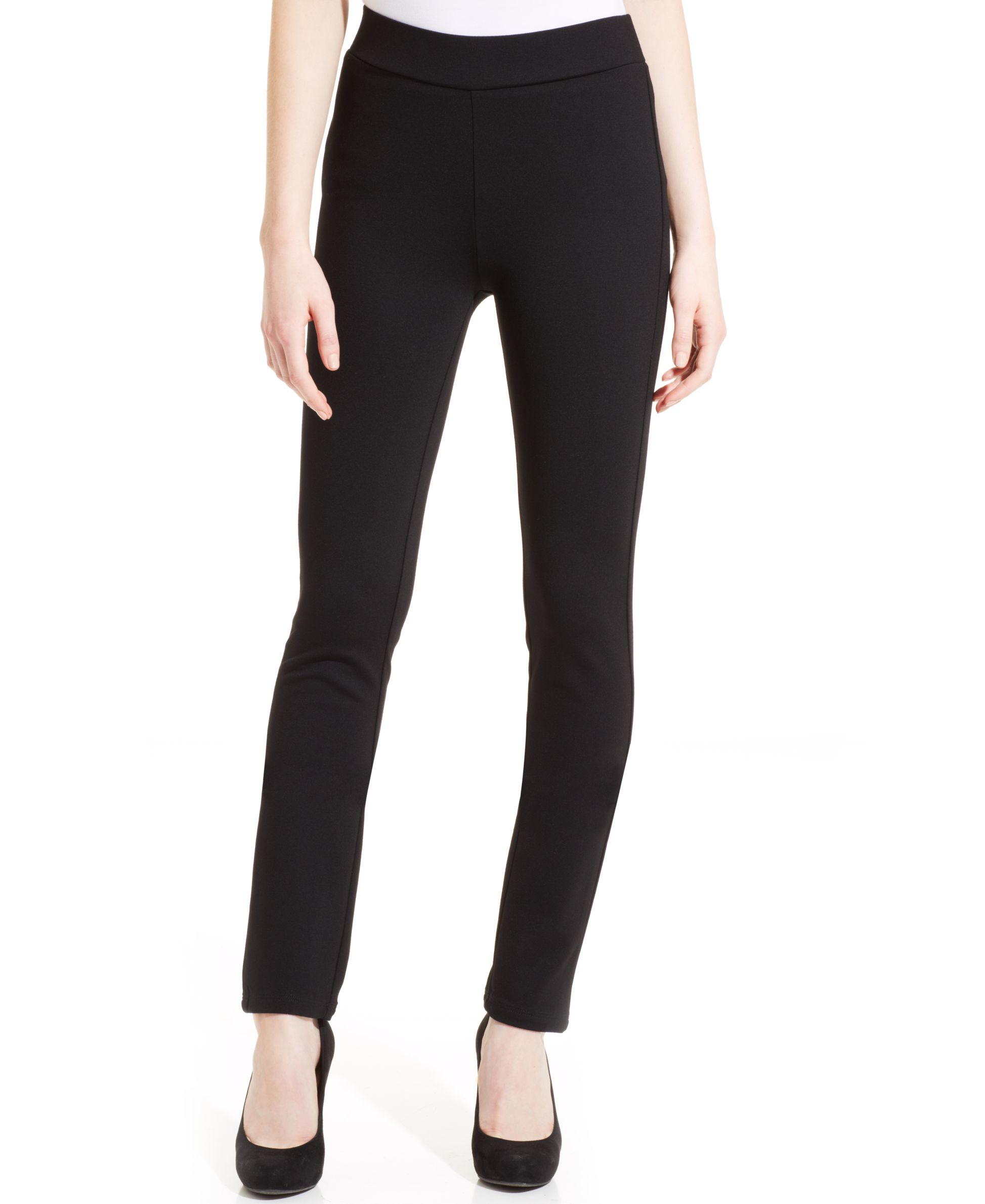 womens black ponte knit pants photo - 2