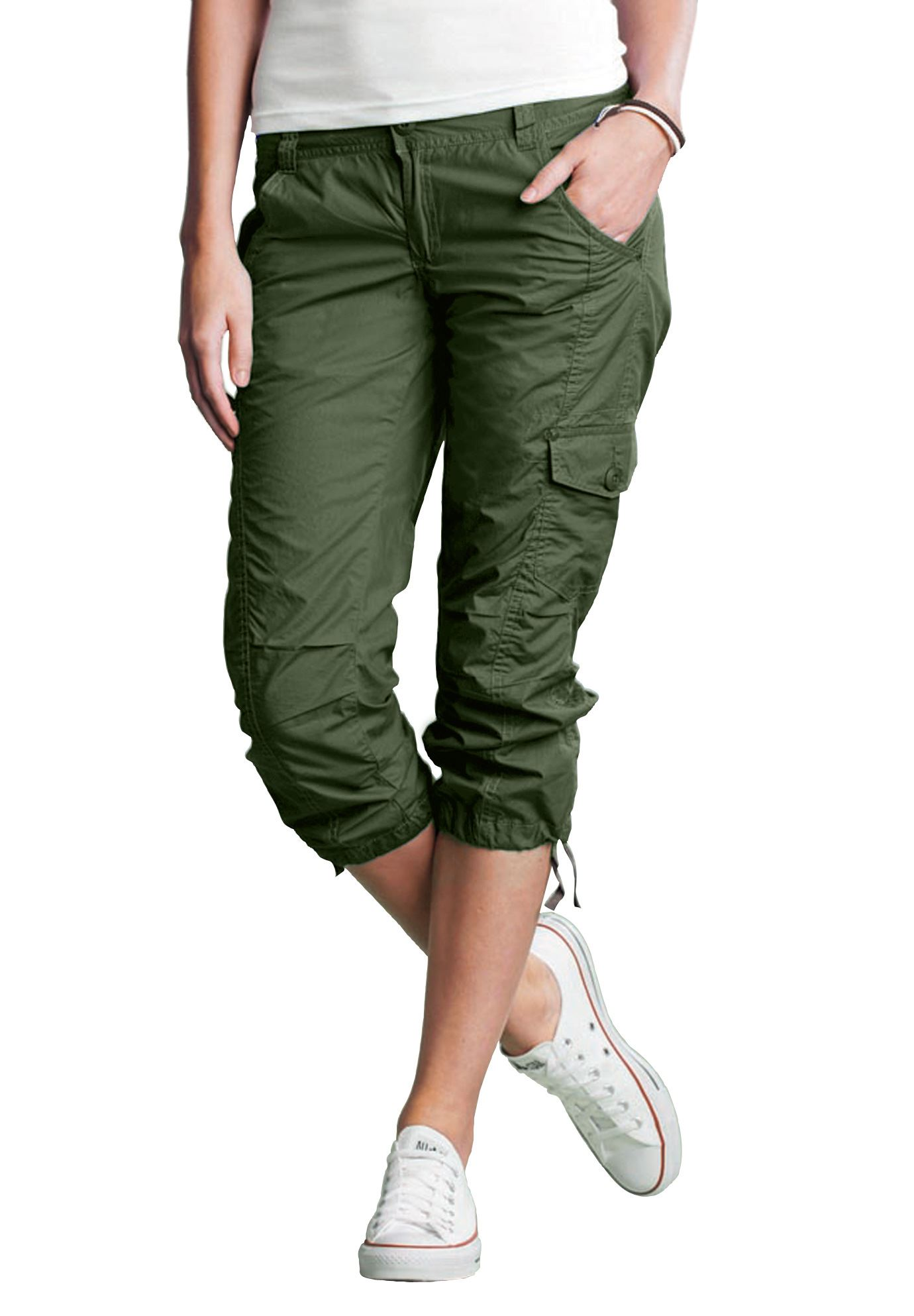 womens cargo capri pants photo - 2