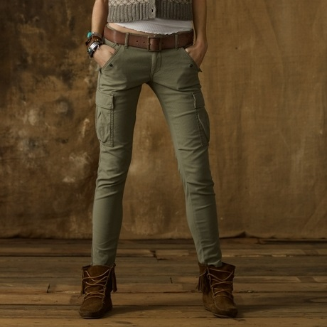 womens cargo pants olive photo - 1