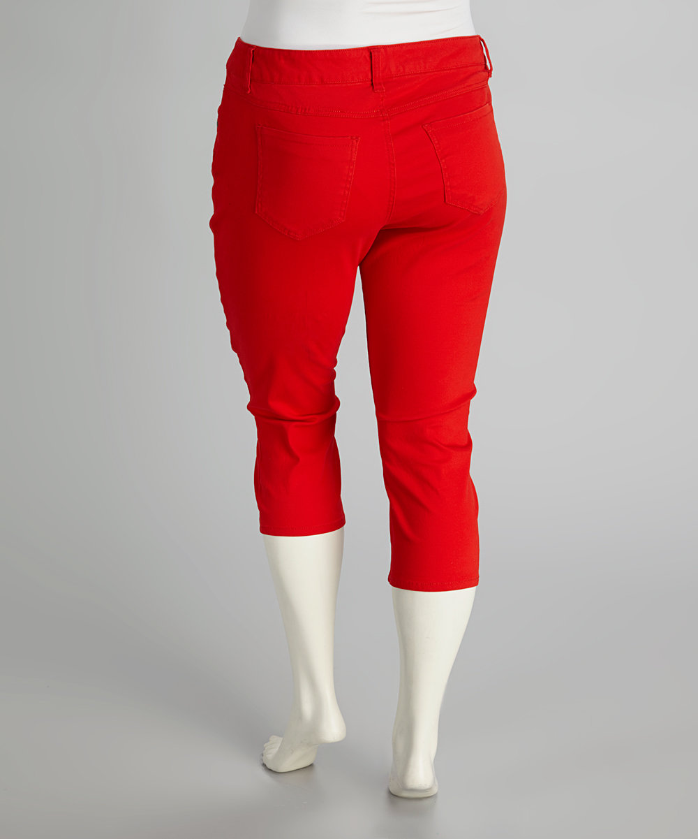 womens red capri pants photo - 2