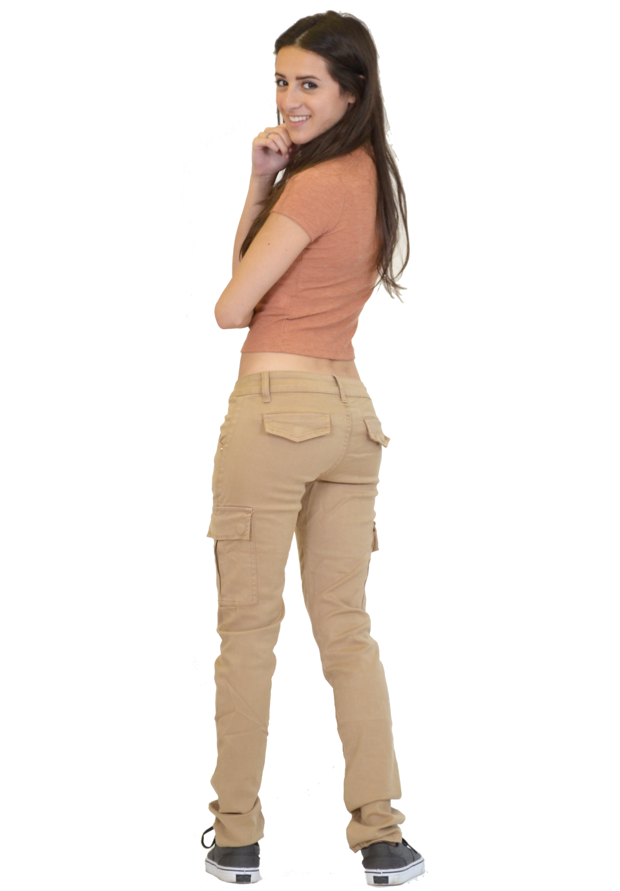 womens red cargo pants photo - 2