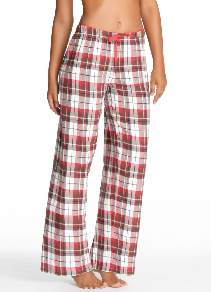 womens red flannel pants photo - 1