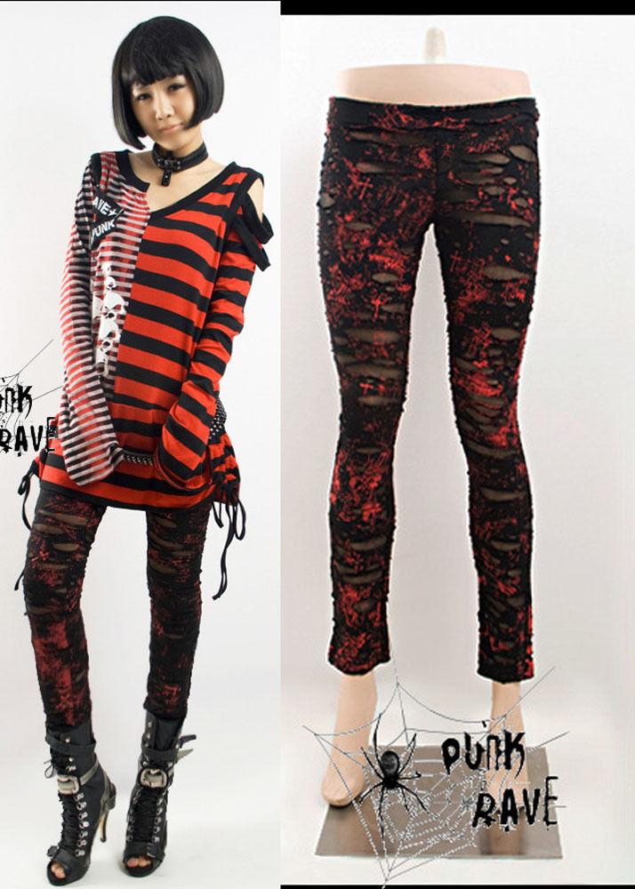 womens red goth pants photo - 1