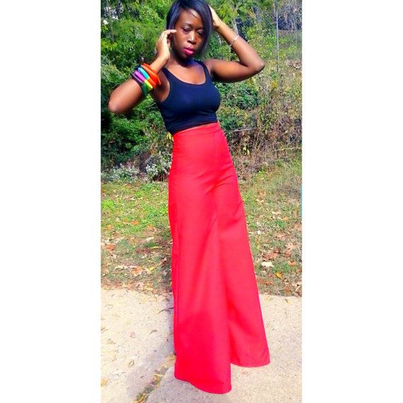 womens red high waisted pants photo - 1