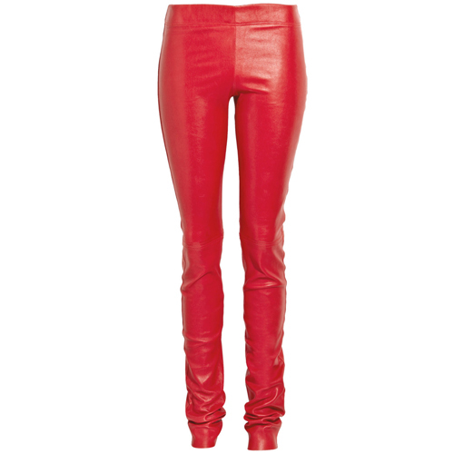 womens red leather skinny pants photo - 2