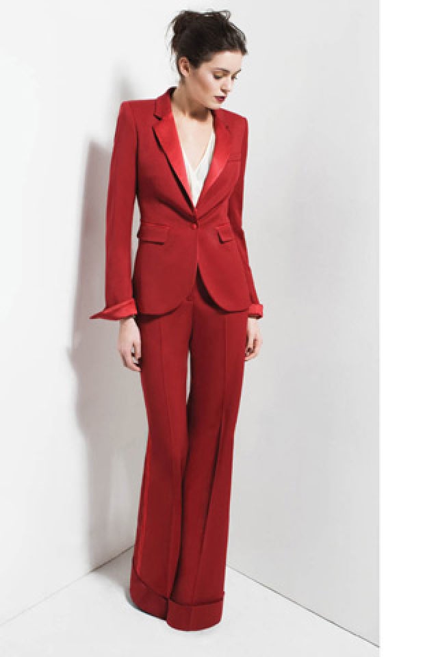 womens red pant suit photo - 1