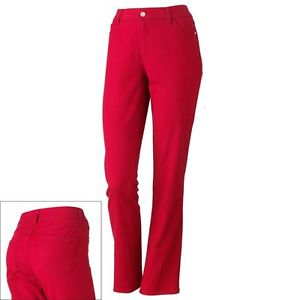 womens red pants size 14 photo - 1
