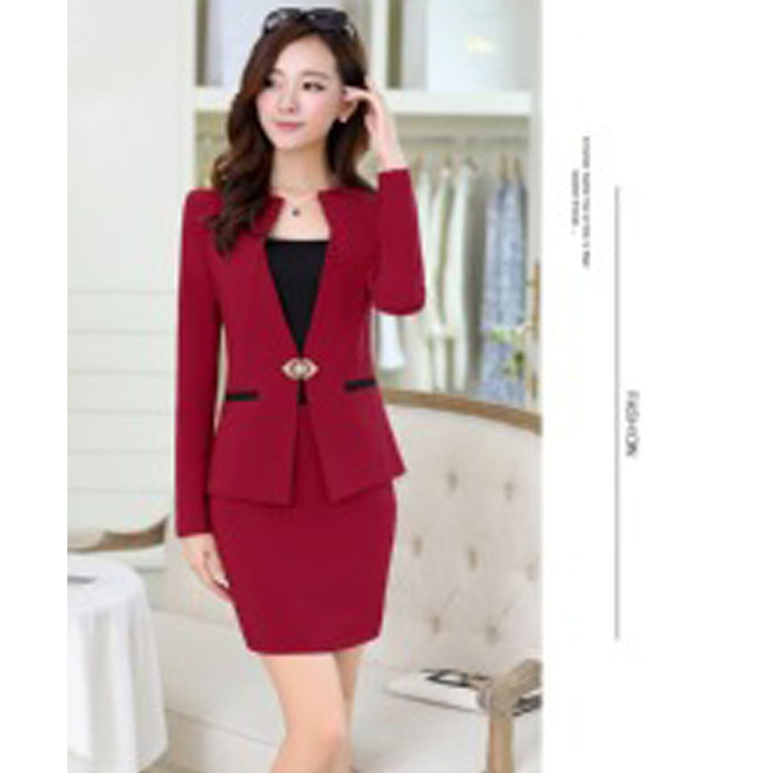 womens red pants suits photo - 1