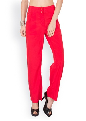 womens red polyester pants photo - 1