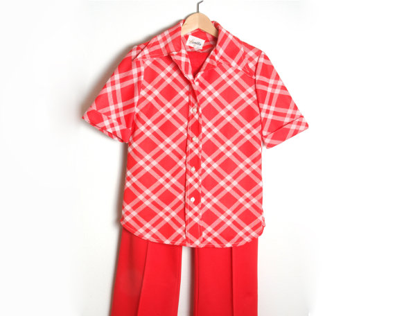 womens red polyester pants photo - 2