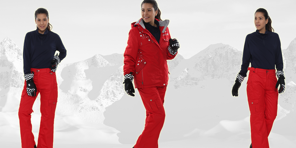 womens red snow pants photo - 2